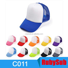 Cheap Advertising Custom Sublimation Hat Blanks Kids Cotton Baseball Mesh Cap Hat for Sublimation Printing