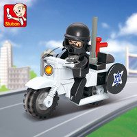Sluban ABS plastic connecting blocks for kids of police motocycle 2016 new toys