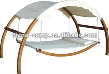 wooden hammock with canopy