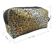 Latest cute leopard printing elegant ladies clutch makeup cosmetic bag