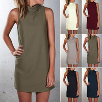 B30298A Autumn and winter hot style leisure high-necked sleeveless dress