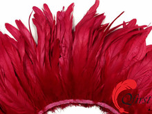 Best selling rooster feathers wholesale bleached red coque tails strung for ladies