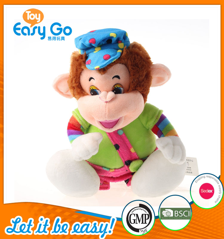 plush sitting uniform monkey for kids
