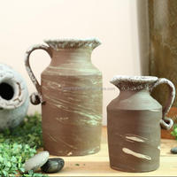 Terracotta jug shape planter, rustic outdoor flower pot with handle