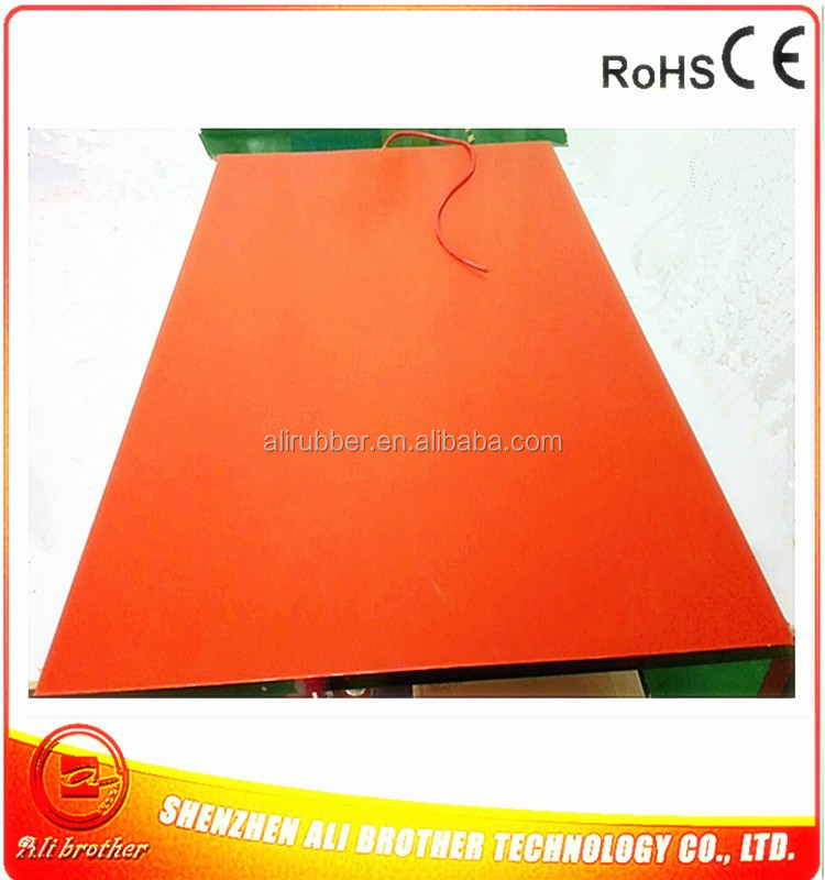 1451*1000*1.5mm heat bed for Composites silicone rubber heater 230vAC 2000w adhesive 1 side 1000mm lead from middle of short