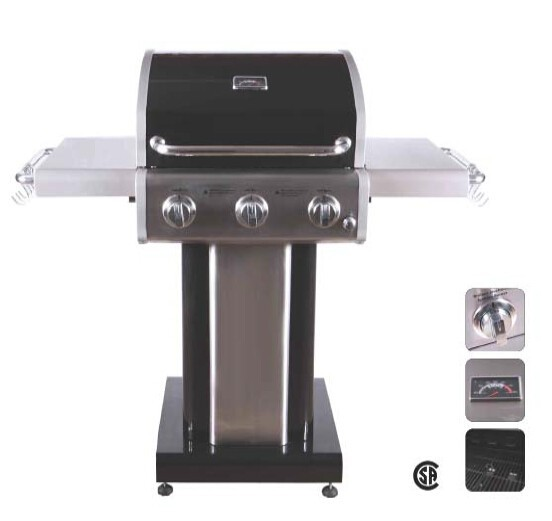3 burner barbecue stainless with foldable side table( CSA certificate)