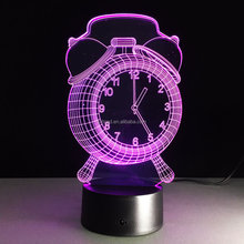 Cool Alarm Clock Lamp 7 Color Changing LED 3D NightLight Building Light For Bedroom Promotional Gifts
