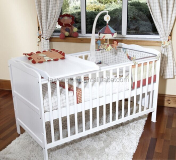 Baby Crib Attached Bed Wooden Cot Portable