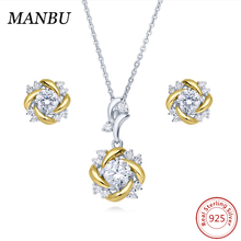 925 sterling silver two tone cz flower necklace and earring bridal jewelry set S503