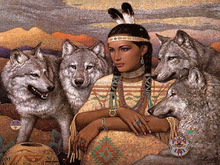 Popular trend 30x40cm resin mosaic beads famous indians and wolf art figure paintings