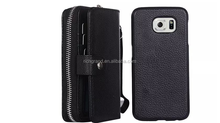 Multi-function Wallet Case PU Leather Cover for Samsung Galaxy S6 Case S6edge S5 S4 2 in 1 Removable Back Case Zip Card holder
