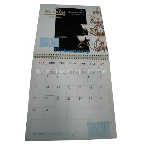 China Manufacture Double Loop Wall Calendar Month Calendar