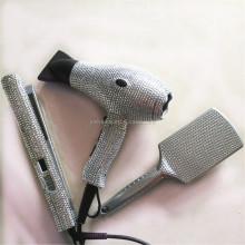 rhinestone fashional mini hair straightener and brush and dryer Set