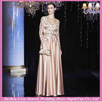 MPTC010 Champagne color V neckline beaded belt ruched satin floor length closed back sheer long sleeves sexy evening dresses