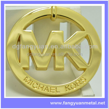 Custom metal logo plates for handbags