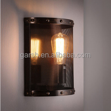 Retro Metal Wall Sconce Iron Net Industrial Wall Lamp Edison Light