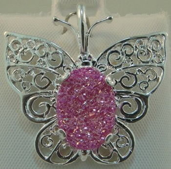 Sterling silver 3999 Pink Neon Drusy Pendant