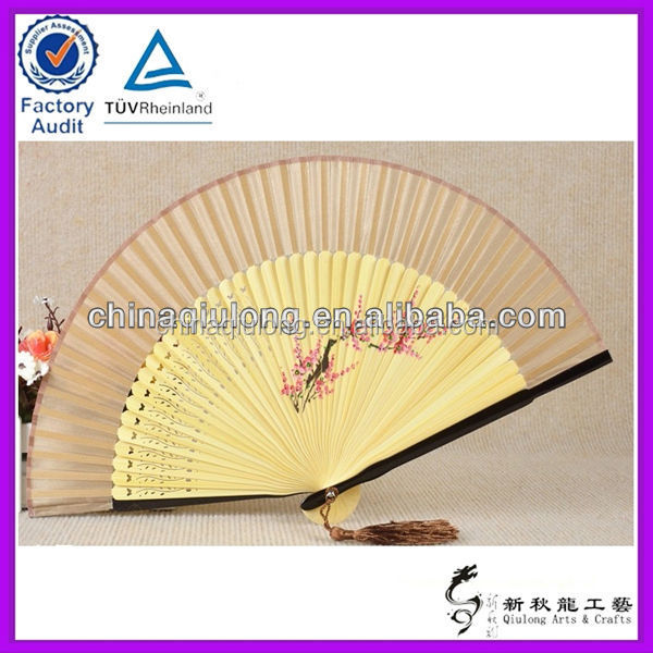 High Quality Silk Ladies Hand Fan with Bamboo Ribs