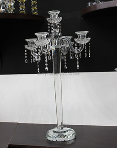 AKC111 Pujiang factory hot fashion 5 arms crystal candelabra centerpieces for wedding table
