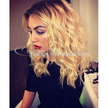 2016 New #1B + #613 two tone color Ombre human hair Curly lace front wig
