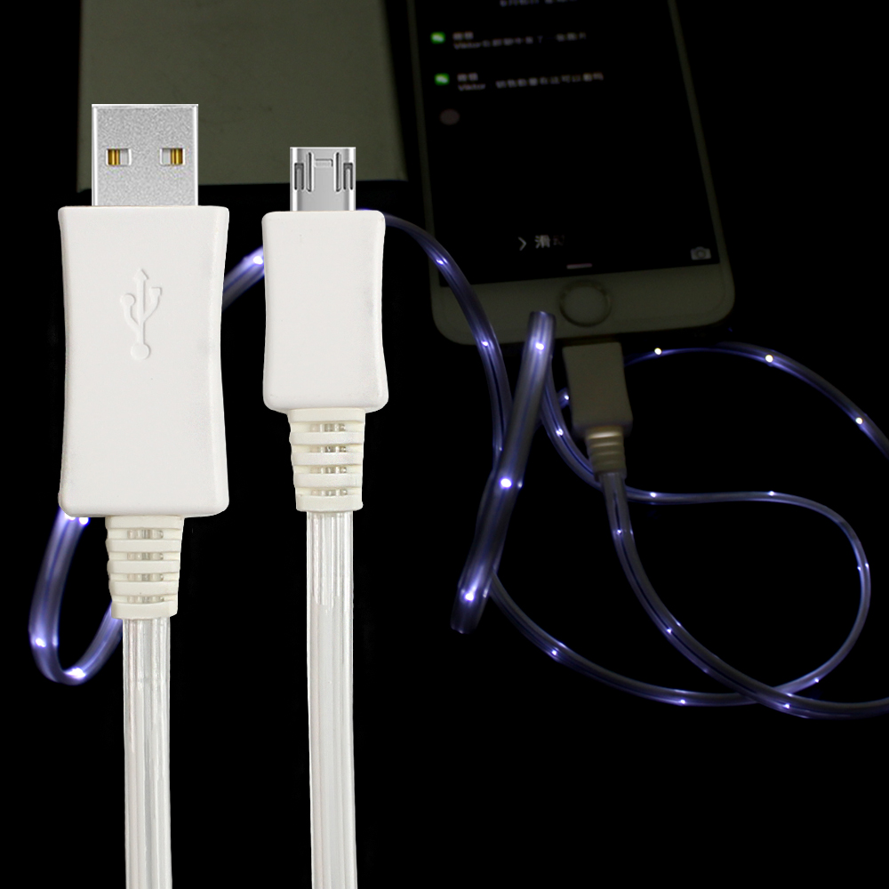 Alibaba best seller micro led USB charging cable light up Charger Cable with led light for android type c