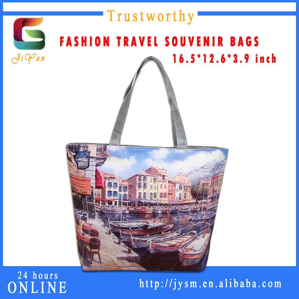 Europe Style Colorful Printed Souvenir Classical House Ferris Wheel Women Leather Handbag Customize Good Quality Clear Tote Bags