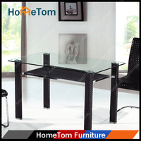 Low Price Dining Room Furniture Large Modern 2 Tier Glass Dining Table