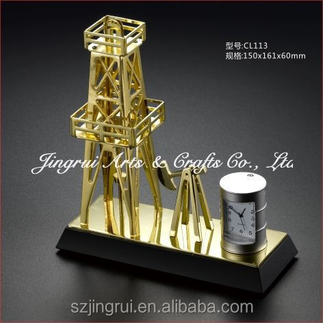 Unique golden oil equipment gift with clock CL113