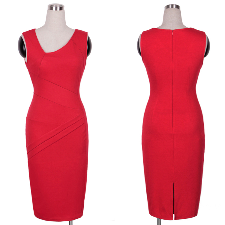Get Quotations · 2015 Female Clothing New Women Elegant Red Slim Pencil  Dress Sexy Sleeveless Club Party Dresses Summer d59236160