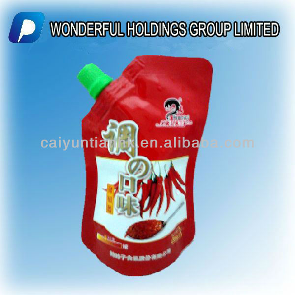 stand up Spout pouches,chilli sauce packaging bag
