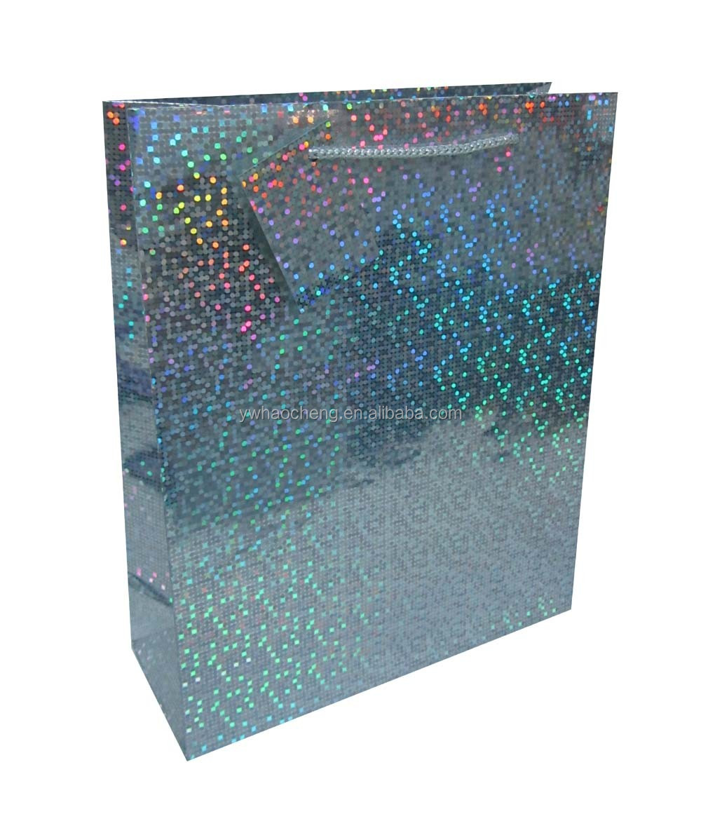 hot sale china factory gift pape bags holographic paper bag