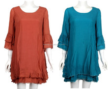 elegant tunic dress for women / western ladies tunic dress / 3/4 sleeve middle east wholesale plus size tunic dress