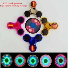 CE Approve Populor LED Flashing Font Finger Spinner Logo Custom Flashing Message Led Hand Spinners Electroplate LED Spinner Toys