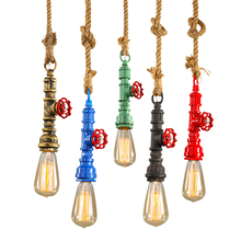 Industrial vintage retro hanging lamp rustic water pipe pendant light