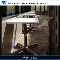White Round solid surface resturant dining tables with chairs