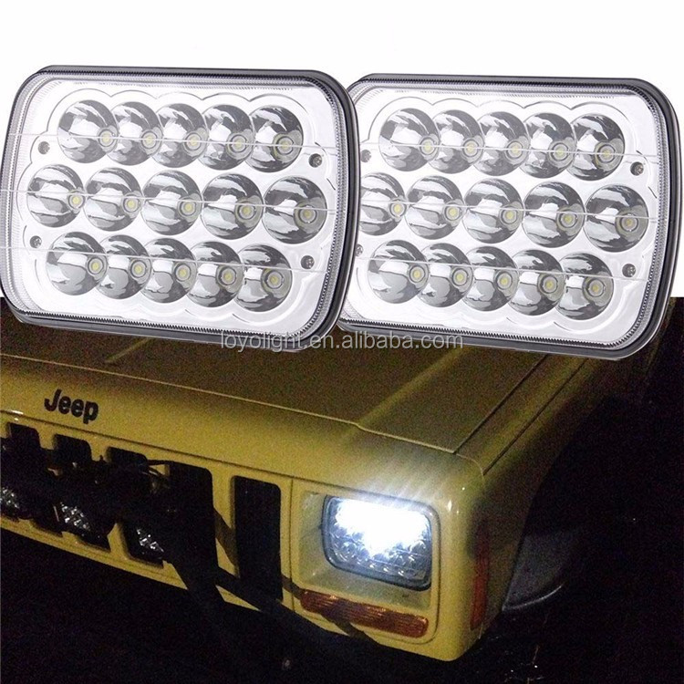"IP67 waterproof 5x7"" square jeep 7 inch rectangular led high low headlight 45w 12v"