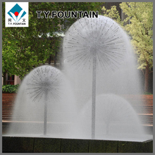 stainless steel water fountain in small lake for decorate