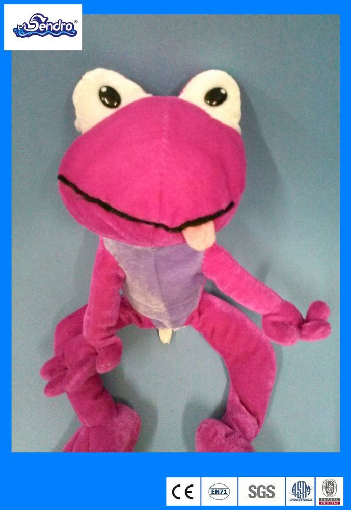 Plush Cartoon Pink and purple cuddly frog toy for kids