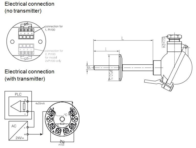 2-wire 4-20ma pt100 temperature sensor
