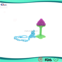 Food Grade Soft Fruit Shape Silicone Baby Teether with Baby Teething Necklace for Biting