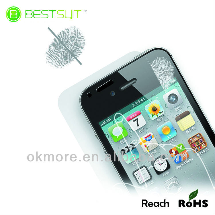 Bestsuit Brand classics anti-fingerprint screen protector for iphone4,high quality!