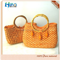 Corn Husk Straw Beach Bag With Bamboo Shape Handle