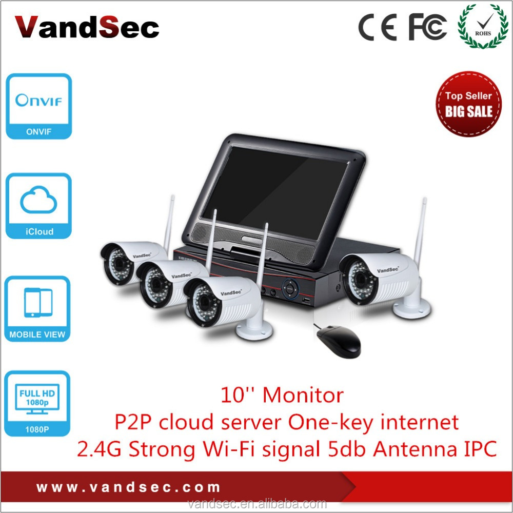 Vandsec 2016 New 960P 4CH Wifi NVR Kit with 10 inch Monitor Home Security CCTV Wireless Camera System