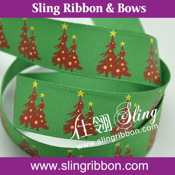 New Arrival Green Christmas Tree Grosgrain Printed Ribbon