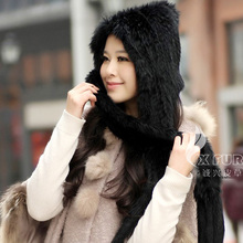 CX-C-05 Russian Style Women Knitted Fur Hat Ski Hat