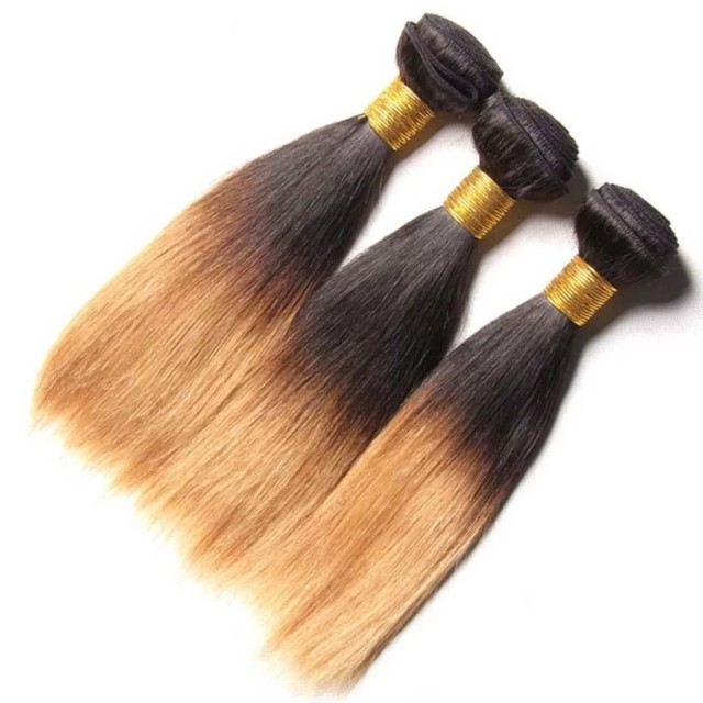 Wholesale silky straight T#1b/27 two tone ombre colored hair weave bundles peruvian human hair weaving