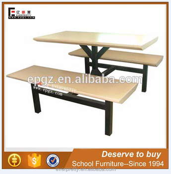 Waterproof heavy duty used restaurant table and chair, modern school dining table