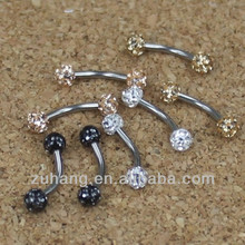 Eyebrow Piercing Jewelry 316L Stainless Steel Curved Barbell Eyebrow Rings with Multi CZ Gem Ferido Balls