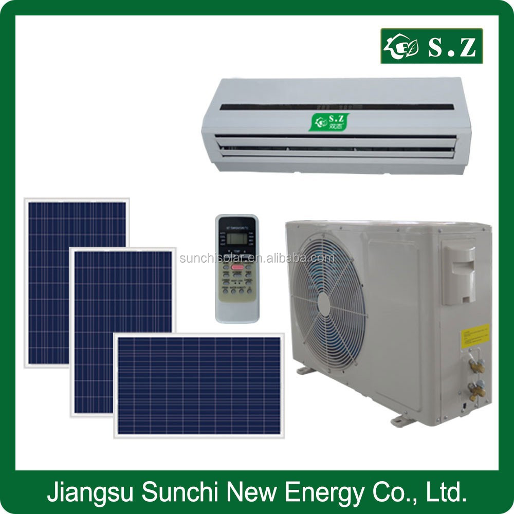 Newest solar power ACDC 90% hybrid quietest India lowest consumption 9000btu 18000btu air conditioning systems