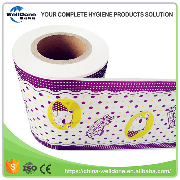 Custom Printed Disposable Baby Diaper Breathable Plastic PE Film in Roll
